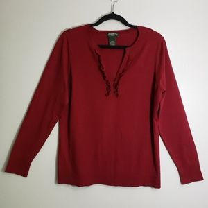Eddie Bauer Burgundy V Neck Sweater